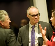 Crispin Blunt and guest listening to Laura Stonehouse